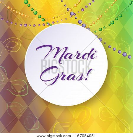 Bright vector background with masks and diamonds on Mardi Gras