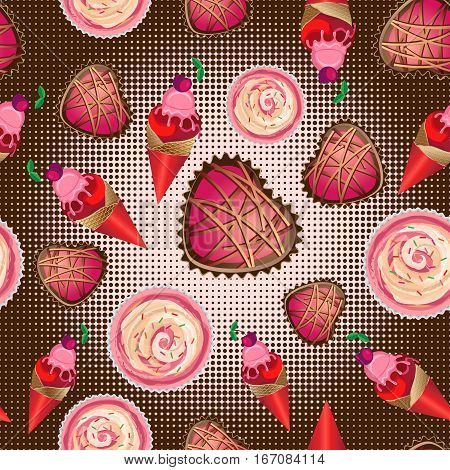 Vector seamless pattern of bright ice cream cakes and pastries
