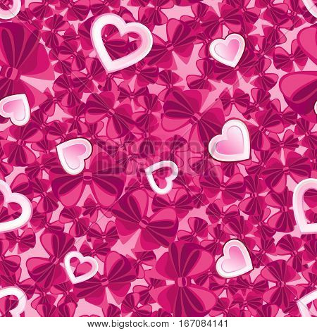 Vector seamless pattern of pink hearts and burgundy bows