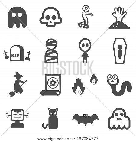 monster ghost mummy alian icon set vector
