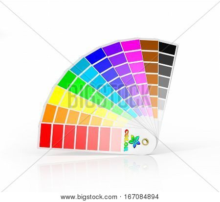 Color Palette Guide Isolated on White Background. Sample Colors Catalog. 3d isolation