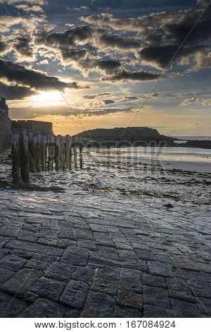 Sunset on the Eventail beach in Saint-Malo, Bretagne France