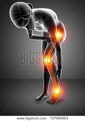 3d illustration of women Pain in leg