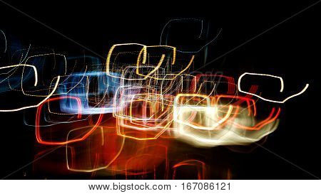 Night lights on street Astir ,Abstract texture