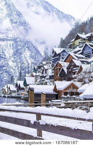 Beautiful Village Hallstatt Winter Day View Alps Austria