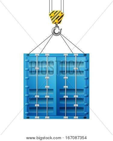 Black and yellow cranes hooks hanging on steel ropes isolated on light background