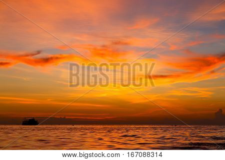 Sunrise    Sea  Thailand Kho Tao Bay South  Sea