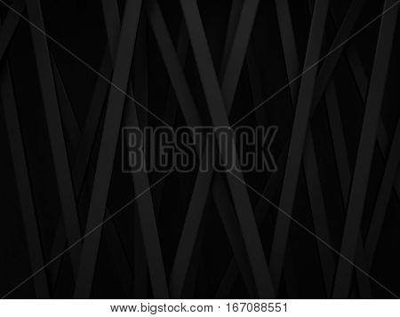 abstract dark black stripe line random background 3d render