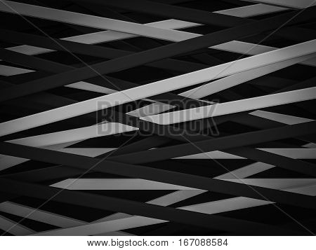 abstract dark black white stripe line random background 3d render