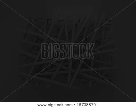abstract black chaotic birdnest layout background 3d render