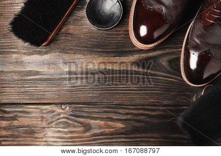 Leather Shoes On Table With Polishing Equipment. Fashion Handmade. Wax