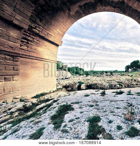 Ancient Roman Aqueduct Pont du Gard Vintage Style Toned Picture