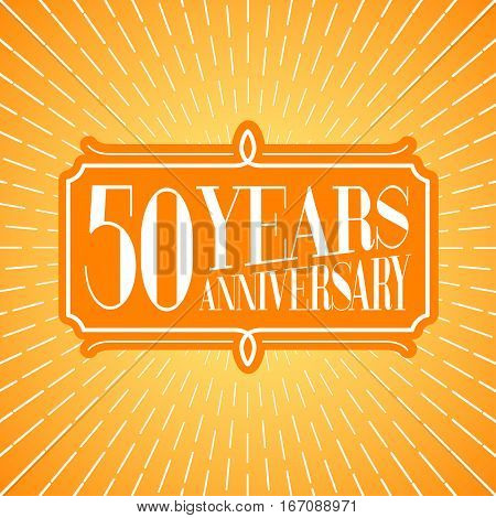 50 years anniversary vector icon logo. Graphic design element for 50th anniversary birthday greeting card