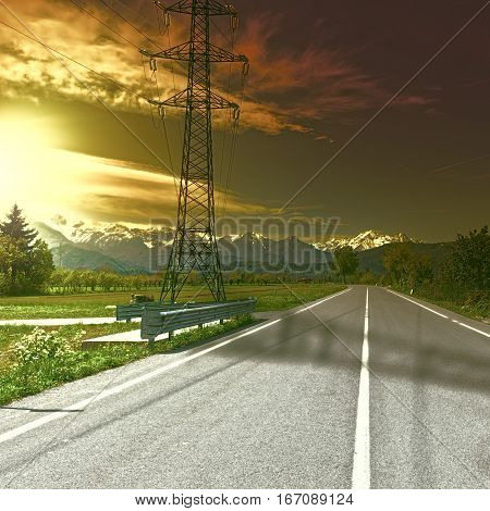 High-voltage Power Line in Piedmont on the Background of Snow-capped Alps at Sunset Vintage Style Toned Picture