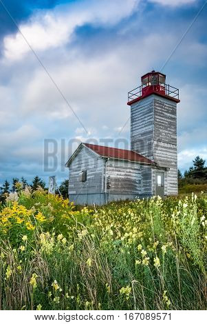 Old wooden llighthouse in Cape Breton Nova ScotiaCanada