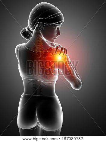 Women Feeling The Shoulder Pain