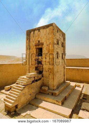 Ancient Persian cube sarcophagus in Persepolis Iran