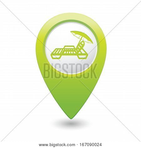 Green map pointer with beach chair icon