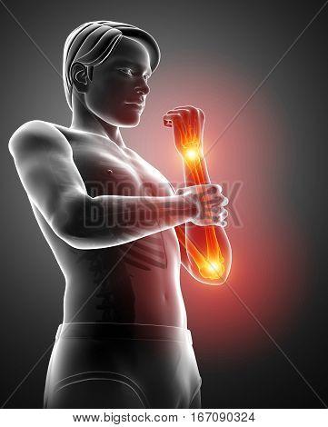 Men Feeling The Elbow Pain Pain