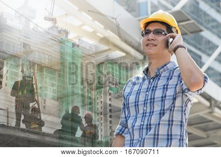 Foreman worker on construction site, architect project