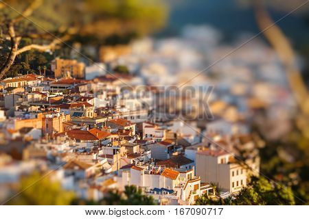 View on the old houses of Tossa de Mar Catalonia Spain. Miniature tilt shift lens effect.