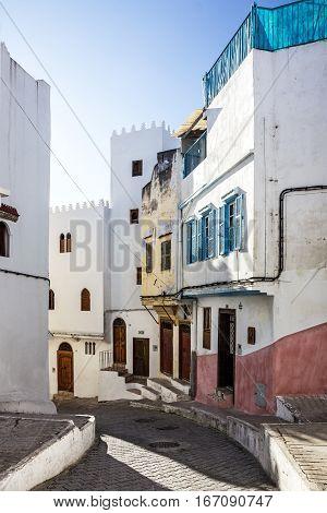 Morocco, Tanger. Narrow street of old town Medina Kasbah