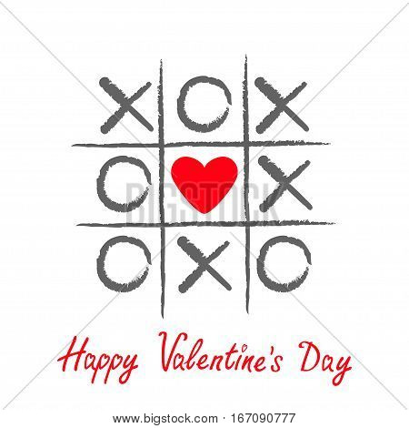 Tic tac toe game with criss cross and red heart sign mark XOXO. Hand drawn brush. Doodle line. Happy Valentines day card Flat design Isolated. White background. Vector illustration