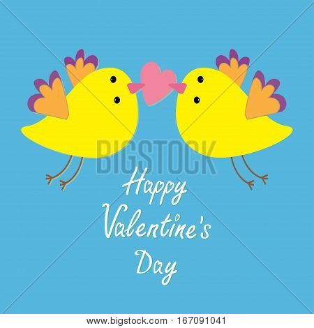 Two flying yellow bird family couple holding pink heart. Happy Valentines Day. Love Greeting card. Cute cartoon character set. Flat design. Blye sky background. Vector illustration