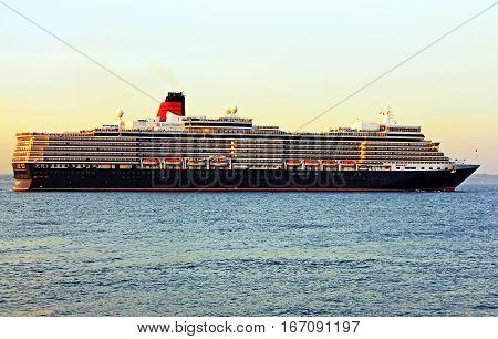 Odessa, Ukraine - Jan 3, 2017: Cruise liner Queen Elizabeth near Odessa, Ukraine.