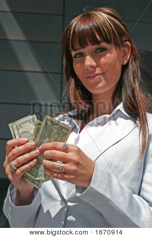 Portrait Of Woman With Dollars