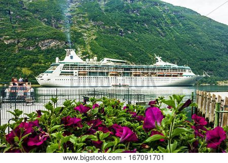 Geiraqnger, Norway - May 20, 2016: Cruise liner Voyager in Geiranger sea port in summer.