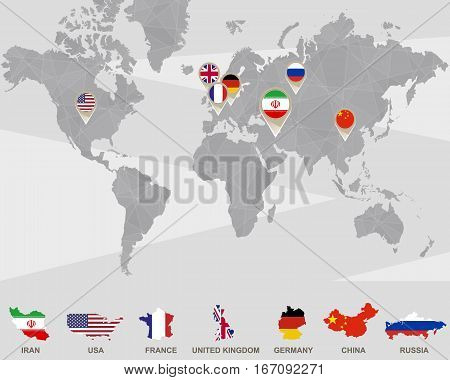 World map with Iran USA France UK Germany China Russia pointers. Iran sanctions. Vector Illustration.
