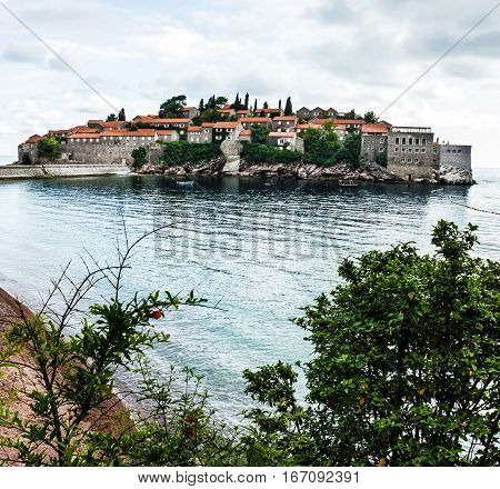 Summer resort landscape. Island of Saint Stephen, Budva, Adriatic sea, Montenegro