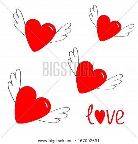 Red heart set with wings. Cute cartoon contour sign symbol. Winged shining angel hearts. Flat design style. Love greeting card. Isolated. White background. Vector illustration