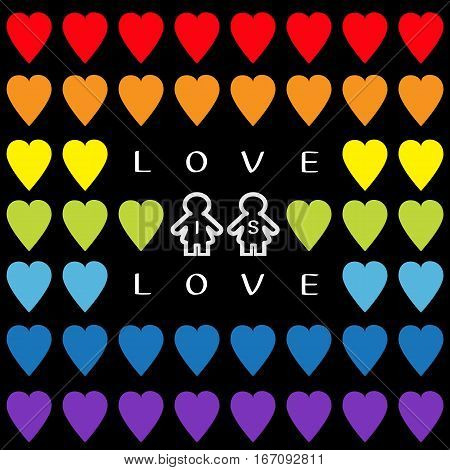 Love is love text. Rainbow heart set. Gay marriage Pride symbol Two contour woman sign Seamless Pattern. Lgbt sign symbol. Black background. Isolated. Flat design. Vector illustration
