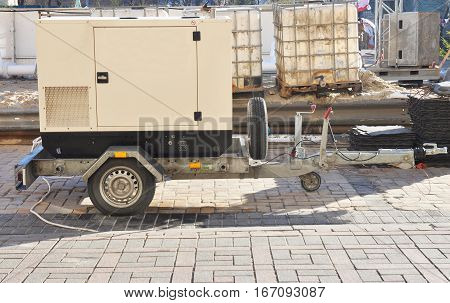 Mobile Diesel Backup Generator with Fuel Tanks Outdoor.