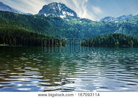 Natural landscape. Mountain lake in Montenegro, Durmitor national park