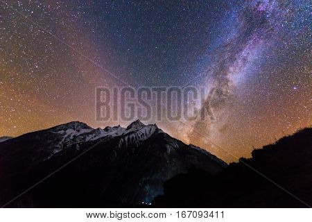 Milky way on starred sky in the mountains. Nepal, Manaslu