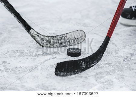 close-up with the puck during the game
