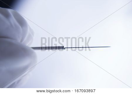 Acupuncture needle for treatment. Alternative medicine. Isolated.