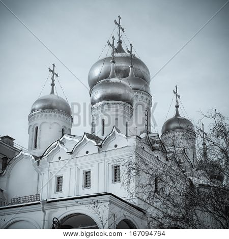 The Cathedral of the Annunciation on Cathedral Square in Moscow Kremlin in winter