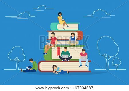 E-learning concept illustration of young people using laptop and tablet pc for distance studying and education. Flat design of guys and young women sitting on the books and reading for self education