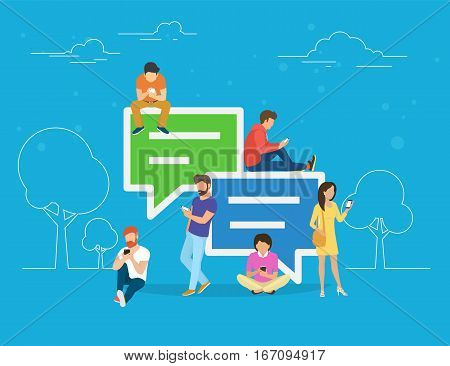 Speech bubbles for comment anf reply concept flat illustration of young people using mobile smartphone for texting and leaving comments in social networks. Guys and women sitting on big symbols