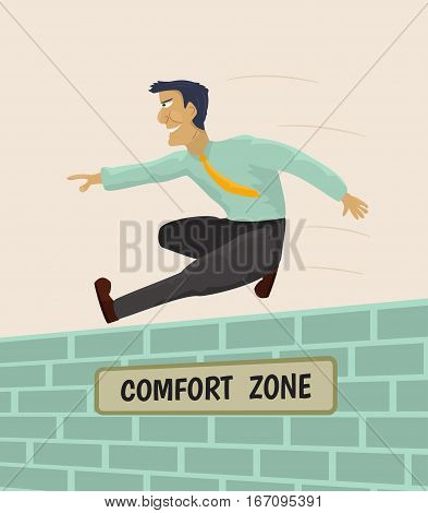 Businessman overcoming comfort zone. Vector concept illustration.
