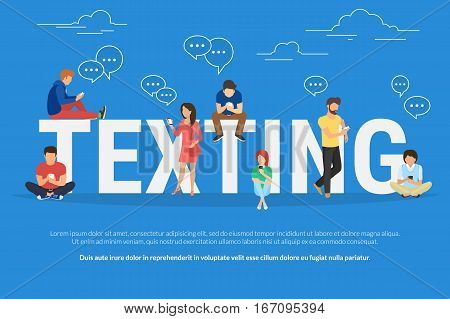 Texting messages concept illustration of young people using smartphone for sending messages via mobile meesenger app. Flat design of guys and women standing near big letters