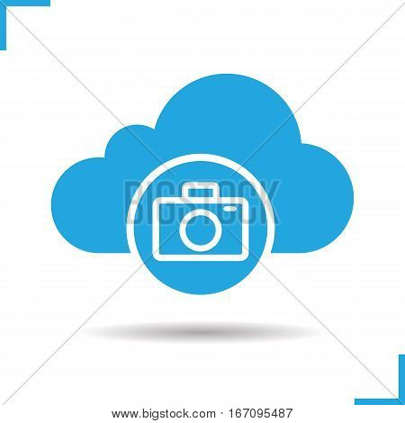 Photo hosting icon. Drop shadow photocamera silhouette symbol. Cloud computing. Negative space. Vector isolated illustration