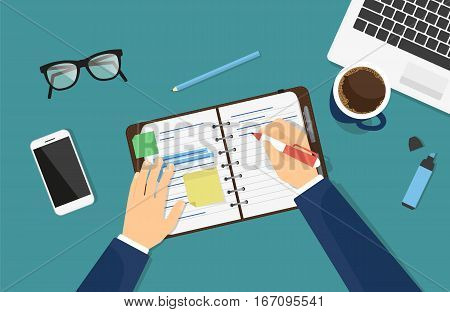 Businessman is writing down a note in the notebook or diary. Flat illustration of business man writing something on the paper. Professional manager sitting at work desk with laptop and drinking coffee