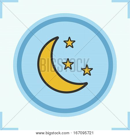 Moon and stars color icon. Night. Bedtime. Isolated vector illustration