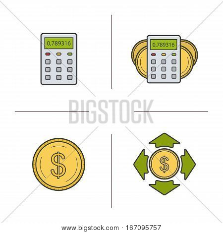 Banking and finance color icons set. Calculator, dollar coin, money spending, income calculations. Personal financial planning. Isolated vector illustrations