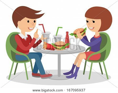 Girl and boy eating fast food. Vector illustration friends at lunch sitting at table. Isolated on white.
